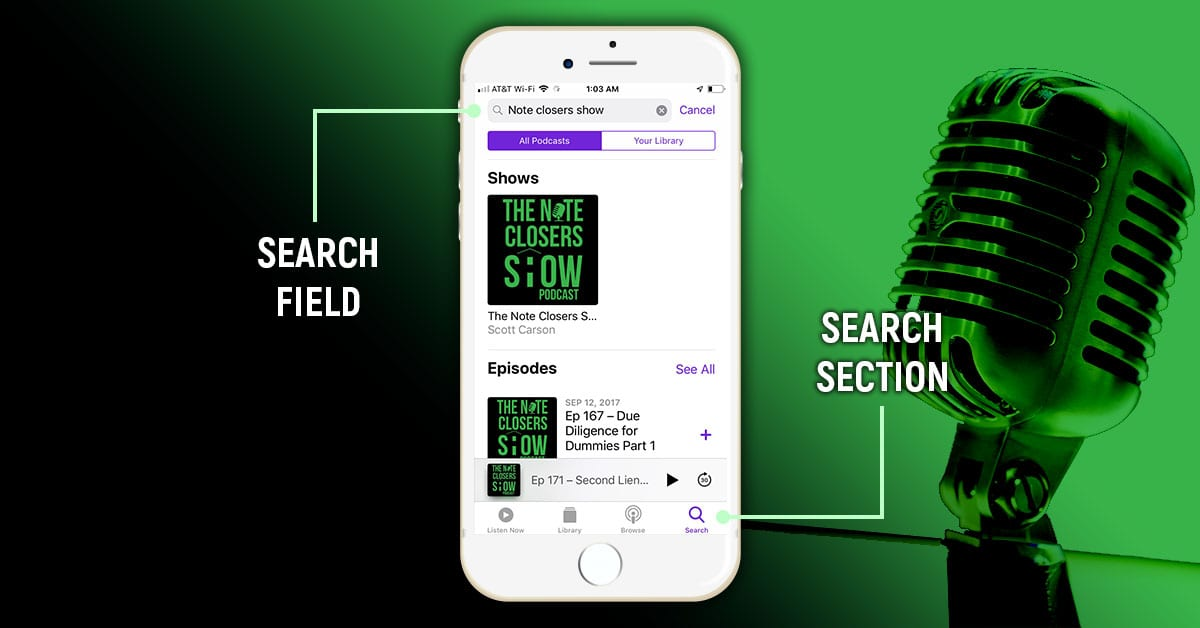 how to see up next podcast on iphone